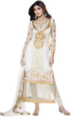White & Cream #Georgette #Salwar #Kameez For #Eid @mokshafashions