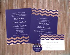 Modern chic rose gold chevron wedding invitation but with a twist! Customize the 2 sides with bilingual wording for your multicultural wedding. English & Spanish demonstrated on Zazzle.