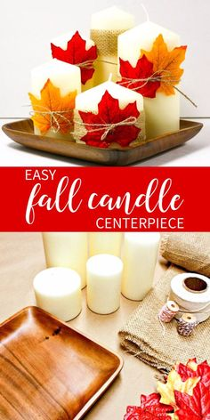 Create an easy fall candle centerpiece for next to nothing! Great for your mantle or Thanksgiving day table! Candles, a charger and some leaves! Diy Thanksgiving Crafts, Easy Fall Crafts, Thanksgiving Decorations, Fall Decorations, Fall Diy, Wedding Decorations, Family Thanksgiving, Diy Crafts, Seasonal Decor