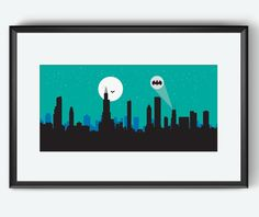 Chicago Skyline Print, Batman Inspired print, Batmobile, Batman and Robin, Ghotam city, Chicago Illinois, poster, Chicago artwork, Batman by SKYWORLDPROJECT on Etsy https://www.etsy.com/listing/167547270/chicago-skyline-print-batman-inspired