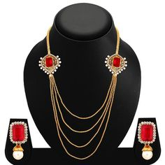 Sukkhi Fashionable Four Strings Gold Plated AD Necklace Set For Women