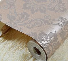 PVC Wall paper Roll European Damask Classic Luxury Wallpapers Home Decoration Art White Coffee R18 $46.00