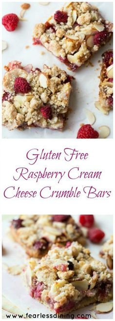 Gluten Free Raspberry Cream Cheese Crumble Bars are bursting with raspberry flavor. Recipe at http://www.fearlessdining.com