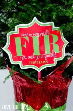 'So Grateful FIR You' FREE Neighbor Gift Tag by Love The Day