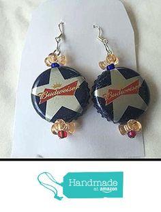 Budweiser Star and Peach Tribead Upcycled Bottlecap Earrings https://www.amazon.com/dp/B01MU1A3VM/ref=hnd_sw_r_pi_dp_7l0uyb9N4FWHY #handmadeatamazon