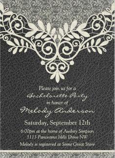 elegant stylish black and white lace bachelorette party invitation bachelorette_party_invitations - Elegant Party Invitations