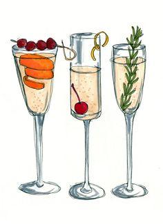 Bar Cart Champagne Cocktails Illustration Art by shopevarose