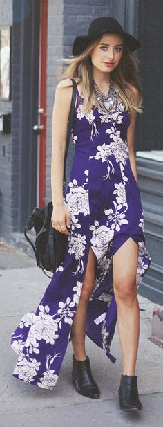 Asos Blue And White Gypsy Effect Thigh Split Floral Maxi Tank Dress - slit detail Trendy Dresses, Blue Dresses, Fashion Designer Quotes, Cozy Winter Outfits, Boho Outfits, Passion For Fashion, Spring Summer Fashion, Bohemian Style, Boho Fashion