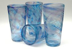 Handblown Glass Tumblers Blue Violet Set of 4  by CaneRiverGlass, $100.00