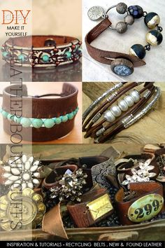 Leather cuffs in boho style inspiration and free tutorials and how to . - Leather cuffs in boho style inspiration and free tutorials and how to use … # - Sea Glass Jewelry, Wire Jewelry, Boho Jewelry, Jewelry Crafts, Beaded Jewelry, Handmade Jewelry, Jewelry Design, Beaded Bracelets, Leather Bracelets