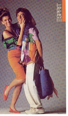 Vintage Esprit Advertisement - models wearing shirts featuring Joel Resnicoff Designs