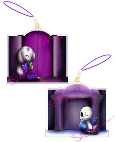 """Behind Closed Doors Double Sided Undertale 2"""" Glitter Charm"""