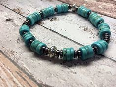 Mens retro turquoise hematite sterling silver by FlyingArtGarden FREE SHIPPING IN THE USA on all jewelry!!!