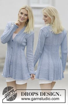 Drops 161- 1, Knitted jacket with lace pattern in Muskat