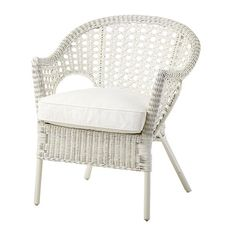IKEA - FINNTORP / DJUPVIK, Armchair with cushion, The furniture is handmade and therefore unique, with rounded shapes and nicely detailed patterns.Furniture made of Indoor Wicker Chairs, Rattan Chair Cushions, Wicker Porch Furniture, Cushions Ikea, Plastic Patio Chairs, Ikea Armchair, Wicker Dining Chairs, Patio Cushions, Backyard Chairs