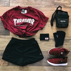 This Outfit is for all you people who love red trust me tap the link and buy this outfit. Cute Lazy Outfits, Teenage Girl Outfits, Teen Fashion Outfits, Teenager Outfits, Edgy Outfits, Swag Outfits, Mode Outfits, Retro Outfits, Cute Fashion