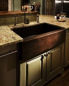 Copper Apron Sink   Want This For My Kitchen Redo,LOVE The Colors Here.moss  Green Cabinets, Countertop And Sink