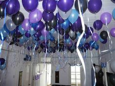 Use Magnets For Floating Balloons Helium balloons looks fabulous at any party BUT they are very expensive. I thought of an idea that could allow you to cheat and that is to inflate your balloon and then pop inside a small magnet. Balloon Decorations Without Helium, Blue Party Decorations, Birthday Decorations, Galaxy Balloons, Blue Balloons, 30th Balloons, Balloon Ceiling, Balloon Arch, Purple Birthday