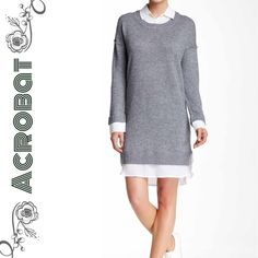 layered sweater dress ( wool, cashmere, silk ) Grey melange sweater dress with spread collar, cuffed long sleeves, side slits, shirt tail hem. No lining. Has stretch to it. Pullover. Classy and comfortable. BNWT. 44% wool 36% viscose 9% nylon 6% silk 5% cashmere. Acrobat Dresses Midi