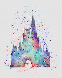 Cinderella Castle Watercolor Art. Everything on this site is incredibly well done!