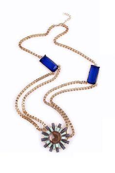 Vintage Sapphire Necklace with Flower Pendant [FTBJ00243]- US$ 4.99 - PersunMall.com