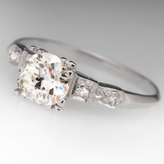 Platinum 1930's Antique 1.2 Carat Old Euro Diamond Ring