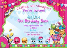 Shopkins  Invitation / Shopkins Birthday by DigitalWorld1 on Etsy