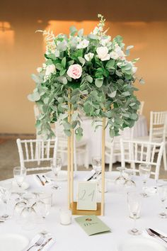 Chic Blush and Greenery Summer Winery Wedding in Greece - MODwedding Tall Wedding Centerpieces, Floral Centerpieces, Wedding Decorations, Centerpiece Ideas, Table Decorations, Gold Accent Table, Accent Table Decor, White Floral Arrangements, Destination Wedding Inspiration