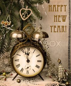 Vintage New Year with antique alarm clock | Stock Photo | Colourbox on Colourbox
