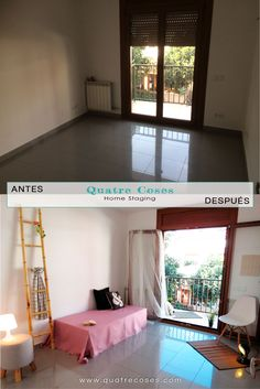 Antes y despues de dormitorio individual. home staging, decoracion neutro, luz y color