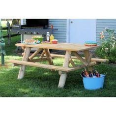 Contoured Comfort Log Picnic Table | Outdoor & Patio Log Furniture
