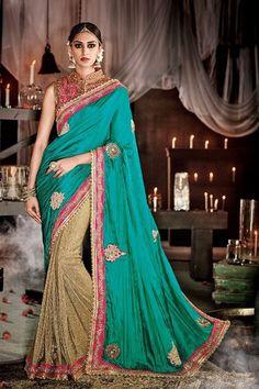 Show details for Edgy rama blue & beige half & half saree