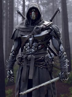 Rate work from 1 to . Robot Concept Art, Armor Concept, Fantasy Armor, Dark Fantasy Art, Fantasy Character Design, Character Art, Ninja Kunst, Cyber Ninja, Ninja Art