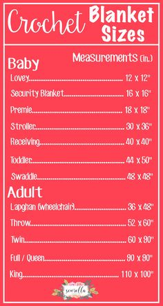 The Complete List of Crochet Blanket Sizes Free Chart from Sewrella Crochet Afghans, Crochet Blanket Patterns, Crochet Stitches, Knitting Patterns, Crochet Blankets, Baby Blankets, Crochet Baby Blanket Free Pattern, Afghan Patterns, Pdf Patterns