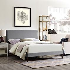 - Camille King Fabric Platform Bed with Squared Tapered Legs in Light Gray