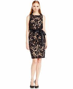 Adrianna Papell Sleeveless Contrast Lace Blouson Dress