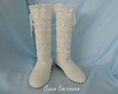 knitted shoes, boots crocheted