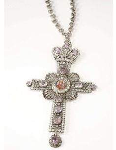 """Russian Silver and """"jeweled"""" Pectoral Cross, circa 1900"""