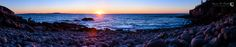 Acadia National Park, Maine, October 4, 2016, 06:37  This is a single row panorama of sunrise at Boulder Beach. I kept it low key for an exposure because I didn't want to overexpose the sun or sky and I liked the deep, rich colors of dawn's first light on the cliffs and boulders, as well as the silhouette of the photographers to the left. The stitched image is 36372 x 7275 or ~265 megapixels and 152 x 30 inches as a print.  #Acadia #coast #dawn #Maine #ocean #panorama #sunrise #workshop