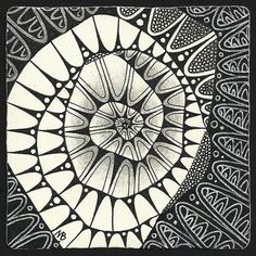 i love the black frame around this zentangle spiral
