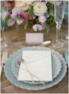 lavender and dusty blue place setting