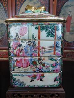Vintage Chinese Famille Rose Medallion Porcelain Dowery Stack Box with 4 Layers | eBay