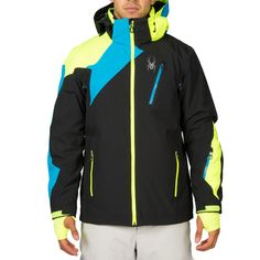 Spyder Vyper Jacket Herren Skijacke schwarz blau gelb #spyder #skibekleidung #outlet #sporthausmarquardt