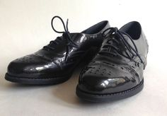 CLARKS Ladies Metallic Black Patent Leather Flat Lace-Up Work Nurses Shoe UK 7  | eBay
