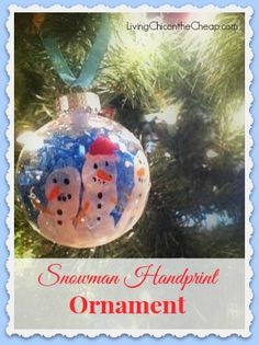Here is a fun, easy handmade ornament craft that is sure to be a big hit- a Snowman Hand Print Ornament! You will need 1 round acrylic ornament found at