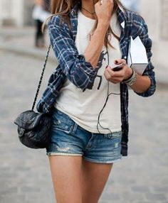 White shirt, flanno and denim shorts my style all the way