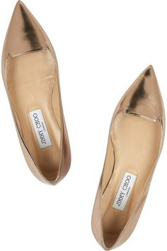 Heel measures approximately 10mm/ 0.5 inches Metallic-beige mirrored leather Leather lining, pointed toe Slip on Designer color: Nude