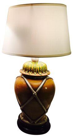 1950's Vintage Unique Pottery Lamps - A Pair on Chairish.com
