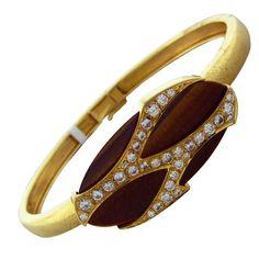 CARTIER Gold Diamond Tiger Eye Bracelet