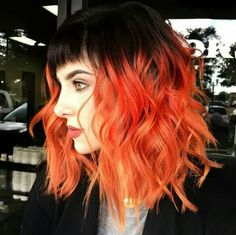 I love everything about this. Red orange long bob wavey hair